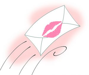 letter sealed with a lipstick kiss