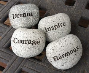 stones with inspirational words written on them